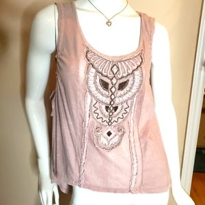 Free people beaded embroidered lace bohemian tank